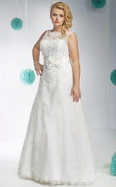 Bateau Sleeveless Lace A-line plus size wedding dress With Low-V Back