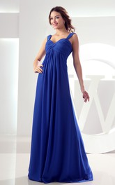 Floor-Length Criss-Cross Ruched Chiffon Sleeveless Gown