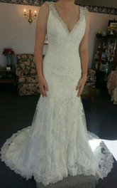 Deep-V-Neck Lace Beaded Elegant Column Gown