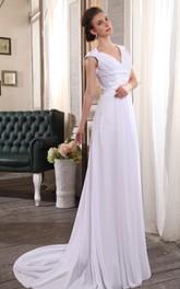 Chiffon Ruched V-Neckline Sleeveless Column Dress