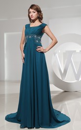 Bateau-Neckline Jeweled Waist Chiffon Sleeveless Dress