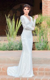 Jewel Sequined Embroideries Long-Sleeve Mermaid Dress