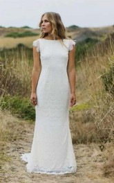 Bateau Lace Cap Short Sleeve Wedding Dress