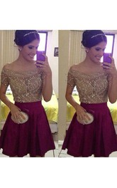 Short Sleeve A-line Short Mini Off-the-shoulder Beading Pleats Satin Homecoming Dress