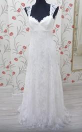 Lace High-Waist V-Neckline Boho Bridal Gown