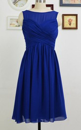 Bateau Sleeveless Criss-cross ruched short Bridesmaid Dress