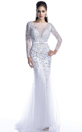 jeweled Illusion Long Sleeve Sheath Tulle Prom Dress With Backless design