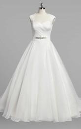 Organza Ruched Jewel Cap-Sleeve Queen-Anne-Neckline Dress