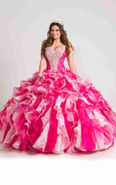 Lace-Up Cascading Ruffled Back Sweetheart Strapless Ball Gown