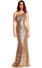 One-shoulder Sequined Sheath Prom Dress With Sweep Train