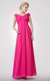 Cap-sleeved V-neck V-back A-line Pleated Chiffon Long Dress