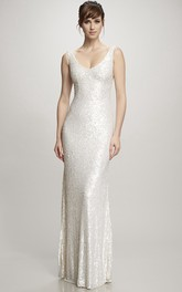 Floor-Length V-Neck Sequins Wedding Dress With Brush Train And V Back