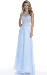 Long Chiffon Prom Dress With Jeweled Bodice And Open Back