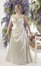 Plunged Cap-sleeve side-draped Satin Dress With Beading And Illusion