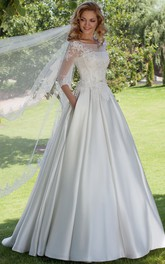 Bateau 3-4-sleeve A-line Satin Wedding Dress With Illusion And Lace