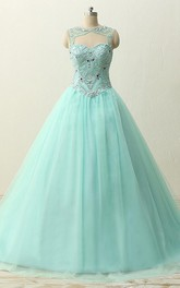 Long Lace Tulle Straps Sweetheart Brush-Train Jeweled Straps Dress