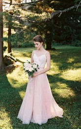 Tulle Low-V Back Spaghetti Two-Tone Gown
