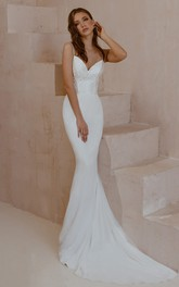Simple Sexy Sleeveless Mermaid Satin Lace Spaghetti Wedding Dress