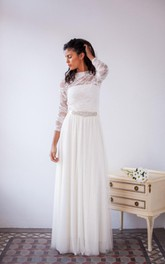 Lace Satin Tulle Long-Sleeve Wedding Jersey Gown