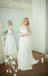 Chiffon A-Line Lace-Bodice Long-Sleeve Wedding Skirt Dress