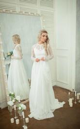 Chiffon A-Line Lace-Bodice Long-Sleeve Wedding Skirt Dress