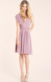 Short Knee-length Jersey&Satin Dress
