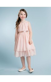 A-Line Chiffon Blush Sweet Knee-Length Dress