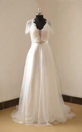 Floor-Length Beaded Satin Sash Wedding Organza V-Neckline A-Line Gown