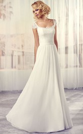 cap-sleeve Lace Floor-length Wedding Dress With Backless design