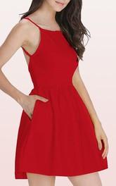 Spaghetti Square Taffeta Sleeveless Mini Open Back Cocktail Dress with Pockets