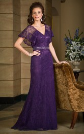 Long Dress Poet-sleeve Lace Mother of the Bride With Beading And Low-V Back