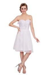 Sleeveless Ruffled Sweetheart Amazing Midi-Length Dress