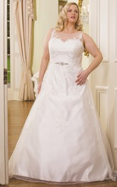 Scoop-neck Sleeveless Satin A-line Ball Gown With Appliques