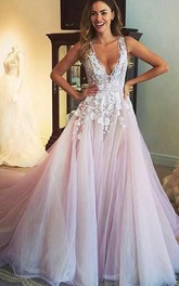 V-Neckline Tulle Appliqued Sleeveless Gorgeous Formal Gown
