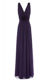 High-Waist Floral V-Neckline Sleeveless Chiffon Gown