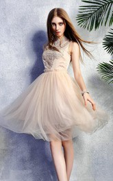 glam short A-line Tulle Dress With Appliqued top