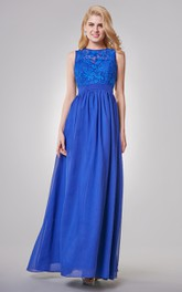 Floor-Length Key-Hole A-Line Jewel-Neck Chiffon Dress