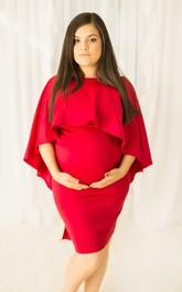 High Neck 3/4 Length Sleeve Pleated Ruched Ruffled Maternity Dress