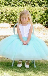 Tulle Embroidery Tea-Length Floral Flower Girl Dress