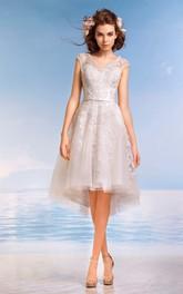 Cap-Sleeve Appliqued Pleats Short-Midi A-Line Lace Dress