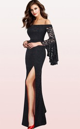 Romantic Off-the-shoulder Lace Mermaid Guest Formal Dress With Split Front