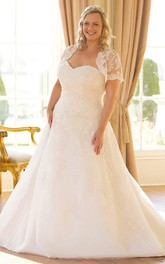 Sweetheart A-line caped plus size wedding dress With Appliques And Corset Back