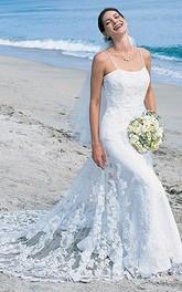 Spaghetti-Strap Beach Mermaid Trumpet Bridal Tulle Dress
