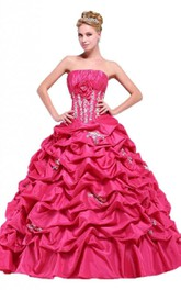 Strapless Floral Detail Ruffles Ball Gown