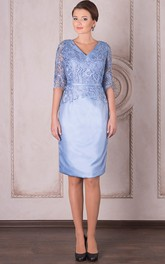 Appliqued Midi-Length Pencil Satin Mother Of The Bride