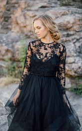 Floor-length Scoop Black Wedding Dress A-Line Long Sleeve Button Illusion Back With Appliques Pleats