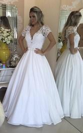 A-Line Lace Appliqued Pearls Short-Sleeve Elegant Dress