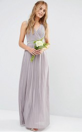 Ankle-Length V-Neck Ruched Chiffon Bridesmaid Dress With Beading
