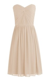 Short Pleated Knot Detail Sleeveless Sweetheart Dress