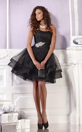 Mini Sleeveless Zipper Short A-Line Tulle Strapless Dress